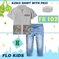 Setelan Koko Abu Flo Kids Set Jeans Kemeja Plus Peci Baju Koko Import