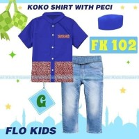 Baju Koko Anak import Set Koko Flo Kids G Set Jeans Kemeja Plus Peci