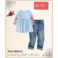 Setelan Kids Happy Flower Blue Blouse dan Jeans Import Kids