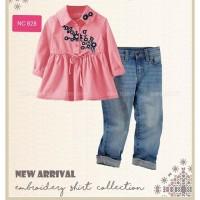 Setelan Kids Happy Flower Pink Blouse dan Jeans Import kids