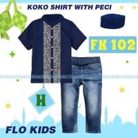 Baju Muslim Import Setelan Koko Flo Kids Set Jeans Kemeja Navy Peci