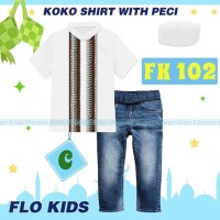 Setelan Koko Flo Kids C Set Jeans Kemeja Putih Plus Peci Baju Import