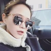 Kacamata (Design Korea) Pria Wanita Bahan metal Mewah kacamata hitam