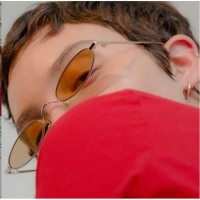 Kacamata (Design Korea) Pria Wanita Frame Metal KecilKeci Gaya Vintage