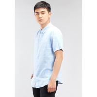 Osella Baju Pria Kemeja Lengan Pendek Blue - Stripe White