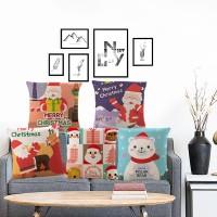 New 18'' Christmas Cotton Pillow Case Linen Cushion Cover Merry
