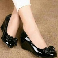 Promo Sandal Wedges Pantofel Wanita Motif Polkadot Sdh29 - Hitam, 37