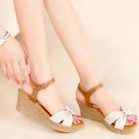 Promo Sandal Wedges Wanita   Sepatu Wedges Cewek Sdw54 - Cokelat, 37