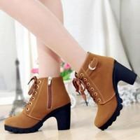 Promo Sepatu Boots Heels Wanita Tan & Hitam Sbo99 - Hitam, 37 Termurah