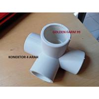 Konektor atau sambungan 4 arah pipa PVC 1 inch harga murah Warna Putih