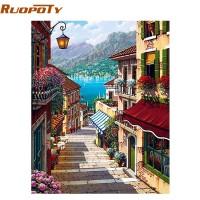 Bingkai 40x50 cm Kopi RUOPOTY Kota Landscape Lukisan Nomor Wall Art