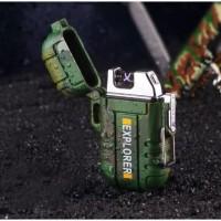 Explorer Korek Api Elektrik Pulse Plasma Cross Arc Lighter Waterproof