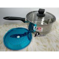 Panci Gagang Milk Pot Steamer Saucepot Indomie Stenli Tutup Kaca 20 cm