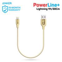 Kabel Charger Anker PowerLine+ Lightning 1ft/0.3m Gold - A8124