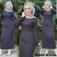 Baju Atasan Wanita Maxi Dress Baju Muslim Dress Alicia Hitam Taks.109