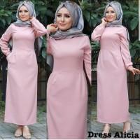 Baju Atasan Wanita Maxi Dress Baju Muslim Dress Alicia Pink Taks.109