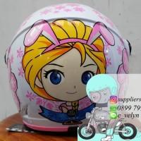 Helm Shell Anak Princess Elisa White / Frozen / Elsa / Sofie not Ink