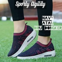 Promo Sepatu Kets Wanita Casual Sport Slip On - Navy, 37 Termurah