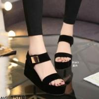 Promo Sandal Wedges Wanita Sdw235 - Hitam, 37 Termurah