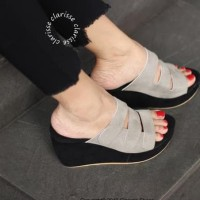 Promo Sepatu Wedges Wanita Sofia Abu - Abu Abu, 36 Termurah