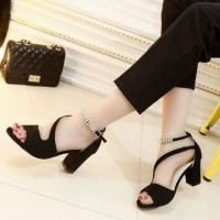 Promo Sandal Wanita High Heels Hak Tahu Sdh163 - Hitam, 37 Termurah