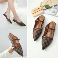 Promo Flatshoes Elvi Catur Bm88 Coklat Palang 2 Motif Kotak Kode Lv01