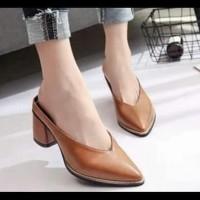 Promo Sepatu Wanita High Heels Mules Karina Tan - Tan, 36 Termurah