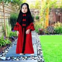 7125 ST gamis kids baju lebaran merah balotely renda bergo variasi