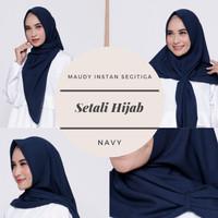 Terbaik! Setali Hijab Jilbab Maudy Segitiga Instan Ultrafine Voal Navy