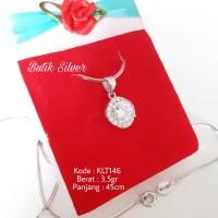 Paket Kalung Liontin Rantai Mata Kristal Korea Meteor Perak 925 Silver