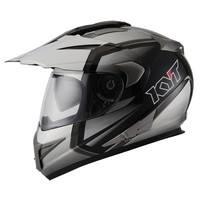 Helm KYT Enduro White Gunmetal Supermoto putih grey