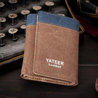 Dompet Import Pria Pendek Model Lipat Bahan Jeans dan Kulit | YT-01