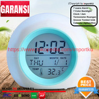 Jam Weker /Digital smart clock desktop/Alarm/Jam meja - 7 warna lampu