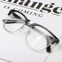 Kacamata Retro Vintage Unisex Lensa Normal Half Frame Smooth Black