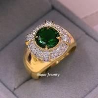Cincin Emas Pria Green Zircon Royal Collection 18K Gold Plated BJR04