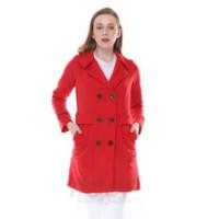 COAT WANITA JESSIE RED - Jaket Cewek Merah Fleece Korea Hijab Casual S