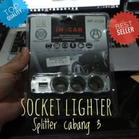 New Triple Socket Lighter Splitter Pemantik Cabang 3 Plus USB Chager