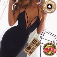 Dress Hitam Pakaian Wanita Bodycon Sexy Party Bandage Mini V Neck