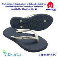 Sandal Swallow Premium SlimFeet Wanita Black – Tali Cream