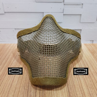 Half Mask Wiremesh v.1 PDW Masker Jaring Tactical Face Airsoft - Tan