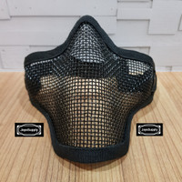 Half Mask Wiremesh v.1 PDW Masker Jaring Tactical Face Airsoft - Hitam