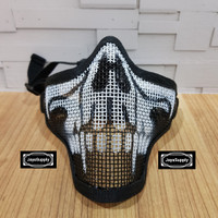 Half Mask Wiremesh v.1 PDW Masker Jaring Tactical Face Airsoft - Skull