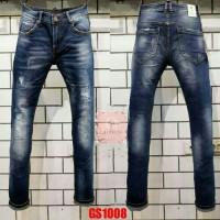 Celana panjang jeans GUESS PREMIUM dark blue washed importir mirror