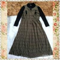 Long maxi dress vintage lengan panjang import preloved Quarutier Latin