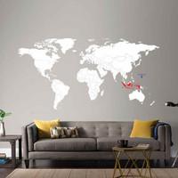 Wall Cutting Sticker World Map Peta Dunia Stiker Travel 2.5 M Dinding - Hitam Merah