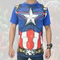 Kaos Full Print Captain Amerika Superhero Marvel Tees (KS CAP 12)