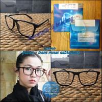 kacamata frame kotak besar casual + lensa supershine minus dan normal