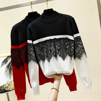Atasan sweater combi brukat Fashion