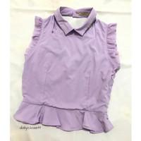 preloved purple ruffle peplum top import / Valentine blouse murah