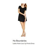 Dress Branded - No Boundaries Ladies Nobo Lace Up Ponte Dress - Black